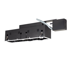 Black Four-Light Remodel Double Gimbal Linear Recessed Fixture with White Trim