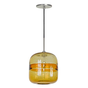Envisage VI Brushed Nickel One-Light Mini Pendant with Amber Striped Shade