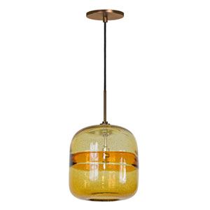 Envisage VI Bronze One-Light Mini Pendant with Amber Striped Shade