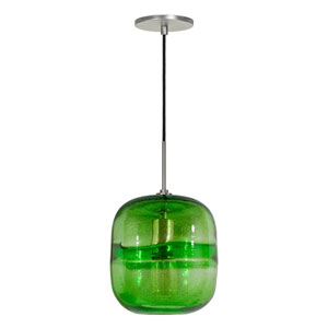 Envisage VI Brushed Nickel One-Light Mini Pendant with Green Glass