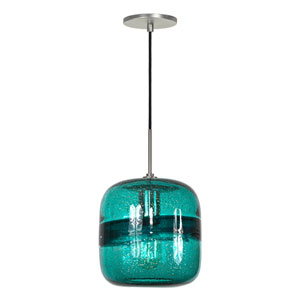 Envisage VI Brushed Nickel One-Light Mini Pendant with Teal Shade