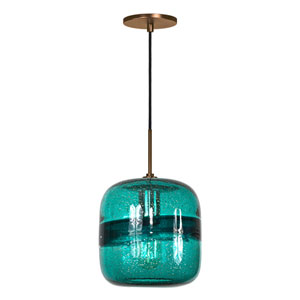 Envisage VI Bronze One-Light Mini Pendant with Teal Shade
