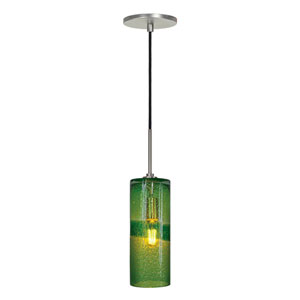 Envisage VI Brushed Nickel One-Light Cylinder Mini Pendant with Green Glass