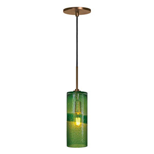 Envisage VI Bronze One-Light Cylinder Mini Pendant with Green Glass