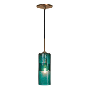 Envisage VI Bronze One-Light Cylinder Mini Pendant with Teal Shade