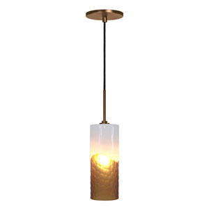 Envisage VI Bronze One-Light Mini Pendant with White and Amber Shade