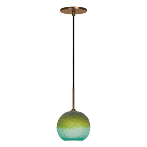 Envisage VI Bronze One-Light Globe Mini Pendant with Blue and Green Shade