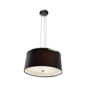 Two-Tone Chrome and Aluminum One-Light Pendant with Black Shade