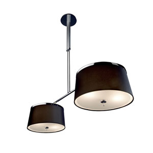 Two-Tone Chrome and Aluminum Two-Light Pendant with Black Shade