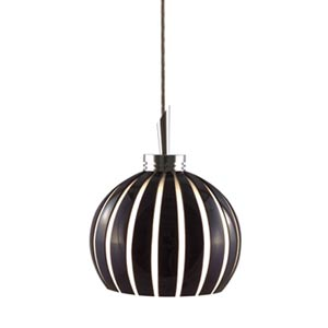 Fabian Satin Nickel Quick Adapt Mini Pendant with Black and White Cased Cut Glass with Opal Interior