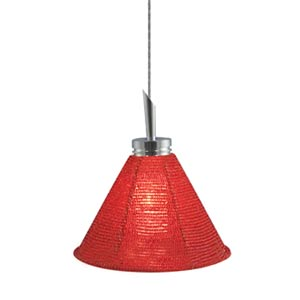 Halle Chrome Quick Adapt Mini Pendant with Red Handcrafted Beaded Shade