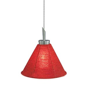Halle Satin Nickel Quick Adapt Mini Pendant with Red Handcrafted Beaded Shade