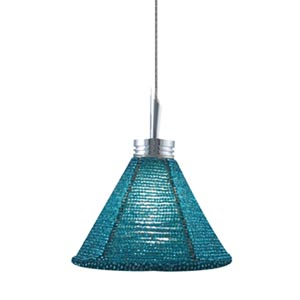 Halle Chrome Quick Adapt Mini Pendant with Turquoise Handcrafted Beaded Shade