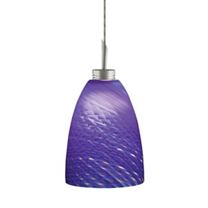 Goblet Satin Nickel Quick Adapt Mini Pendant with Blue Patterned Cased Glass