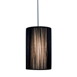 Zen Chrome Quick Adapt Mini Pendant with Black Cylindrical Silk Shade
