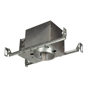 Silver 4-Inch One-Light Line Voltage Airtight IC Housing For New Construction