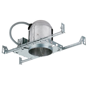 Silver 5-Inch One-Light Line Voltage IC Airtight Housing for New Construction Trim