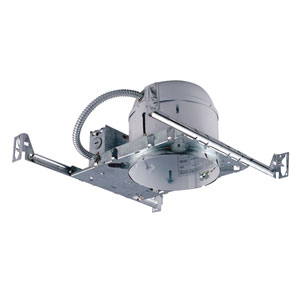 Silver 6-Inch One-Light Non-IC Shallow Housing for New Construction