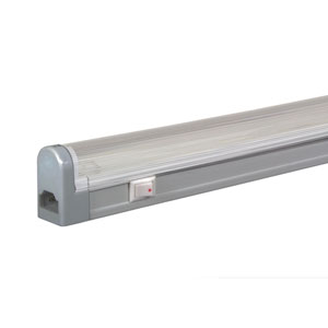 Silver 21.5-Inch Adjustable 20W T4 Fluorescent Undercabinet with Rocker Switch, 3000K