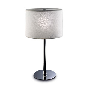 Chrome One-Light Table Lamp with Iced White Shade