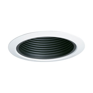 Black 5-Inch Line Voltage Metal Step Baffle Trim