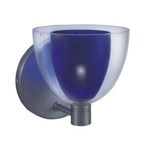 Lina Satin Nickel Wall Sconce with Blue Glass