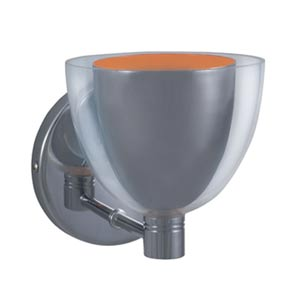 Lina Chrome Wall Sconce with Chrome Exterior/Orange Interior Glass