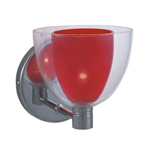 Lina Chrome Wall Sconce with Red Glass