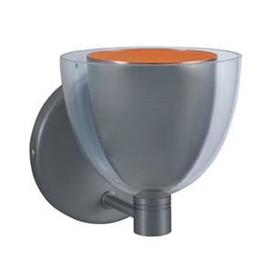 Lina Satin Nickel Wall Sconce with Satin Nickel Exterior/Orange Interior Glass