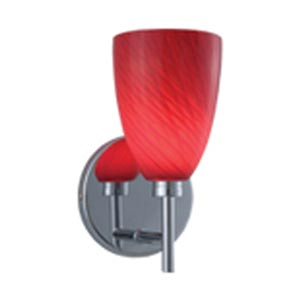 Goblet Chrome Wall Sconce with Red Cased Glass