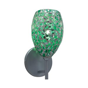 Moz Satin Nickel Wall Sconce with Emerald Glass