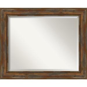 Alexandria Rustic Brown 34-Inch Bathroom Wall Mirror