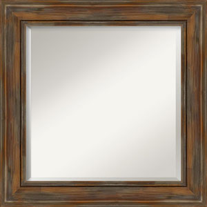Alexandria Rustic Brown 26-Inch Bathroom Wall Mirror