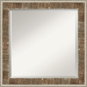 Farmhouse Brown 25-Inch Bathroom Wall Mirror