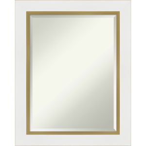 Eva White and Gold 23W X 29H-Inch Bathroom Vanity Wall Mirror