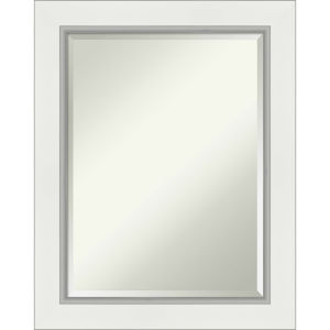 Eva White and Silver 23W X 29H-Inch Bathroom Vanity Wall Mirror
