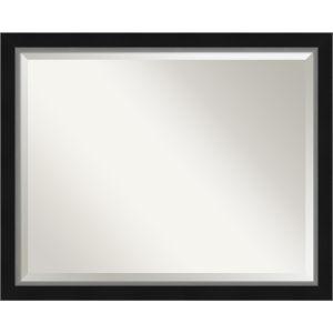 Eva Black and Silver 31W X 25H-Inch Bathroom Vanity Wall Mirror