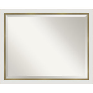 Eva White and Gold 31W X 25H-Inch Bathroom Vanity Wall Mirror