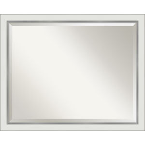 Eva White and Silver 31W X 25H-Inch Bathroom Vanity Wall Mirror