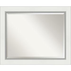 Eva White and Silver 33W X 27H-Inch Bathroom Vanity Wall Mirror