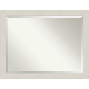 Rustic Plank White 45W X 35H-Inch Bathroom Vanity Wall Mirror
