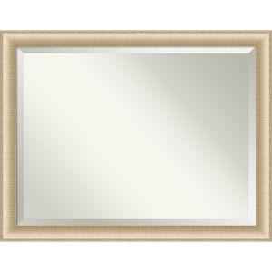 Elegant Brushed Honey 45W X 35H-Inch Bathroom Vanity Wall Mirror