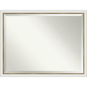 Eva White and Gold 43W X 33H-Inch Bathroom Vanity Wall Mirror