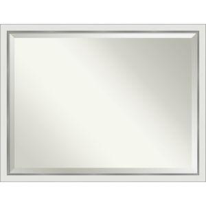 Eva White and Silver 43W X 33H-Inch Bathroom Vanity Wall Mirror