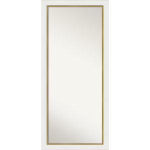 Eva White and Gold 29W X 65H-Inch Full Length Floor Leaner Mirror