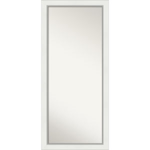 Eva White and Silver 29W X 65H-Inch Full Length Floor Leaner Mirror