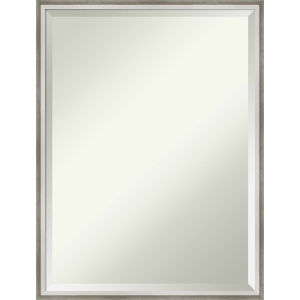 Lucie White and Silver 19W X 25H-Inch Bathroom Vanity Wall Mirror