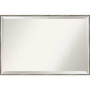 Lucie White and Silver 37W X 25H-Inch Bathroom Vanity Wall Mirror