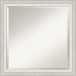 Trio White and Silver 24W X 24H-Inch Bathroom Vanity Wall Mirror