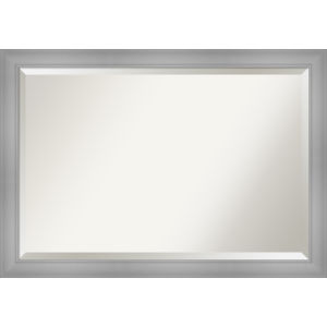 Flair Brushed Nickel 40W X 28H-Inch Bathroom Vanity Wall Mirror